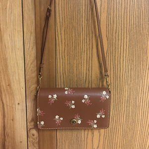 Coach 1941 Brown Floral Bow Dinky Crossbody Bag